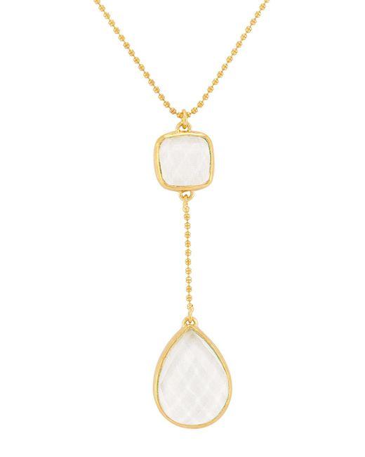 Melinda Maria - Metallic Clarence Double Drop Cz Pendant Necklace - Lyst