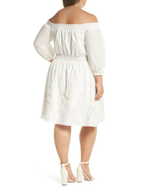 Lyst Chelsea28 Off The Shoulder Peasant Dress Plus Size In White
