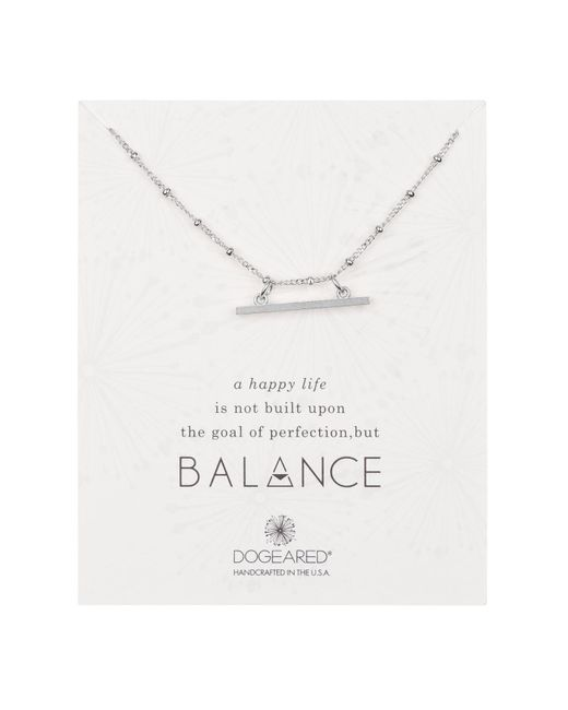 Dogeared - Metallic Sterling Silver 'balance' Beaded Horizontal Bar Pendant Necklace - Lyst