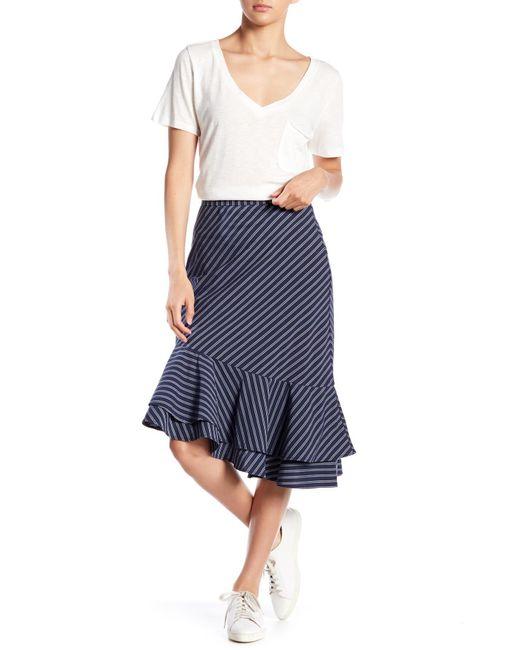 Joie - Blue Yenene Striped Asymmetrical Hem Skirt - Lyst