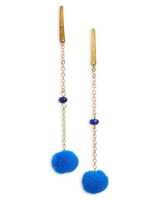 Panacea - Blue Linear Pom Earrings - Lyst