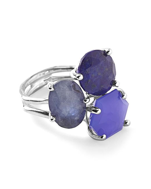 Ippolita - Metallic Rock Candy Sterling Silver Prong Set 3-stone Cluster Ring - Size 7 - Lyst