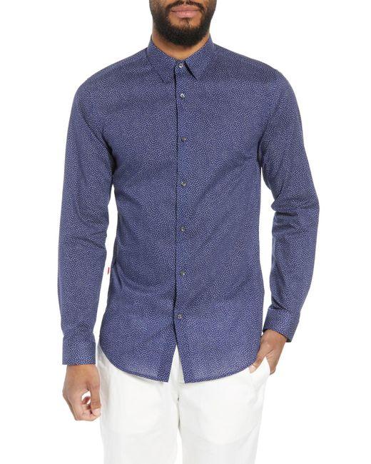 Theory - Blue Murrary Trim Fit Print Sport Shirt for Men - Lyst
