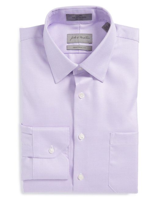 John W. Nordstrom - Purple John W. Nordstrom Traditional Fit Non-iron Houndstooth Dress Shirt for Men - Lyst