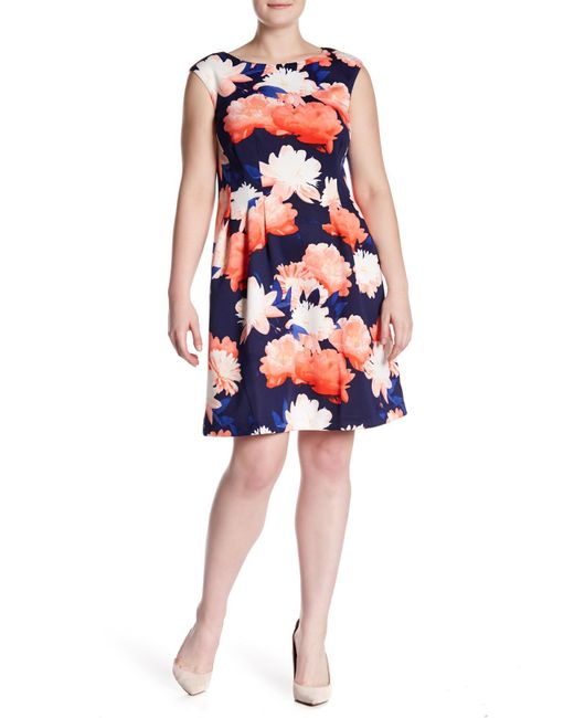 Vince Camuto - Blue Cap Sleeve Floral Print Scuba Fit And Flare Dress (plus Size) - Lyst