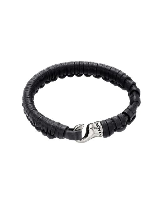 Uno De 50 - Black Hook Plaited Leather Bracelet for Men - Lyst