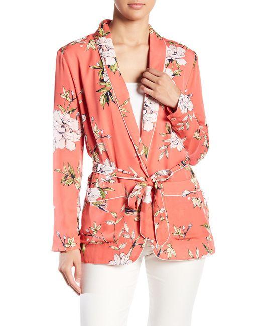 Joie - Pink Anasophia Floral Print Belted Silk Blazer - Lyst