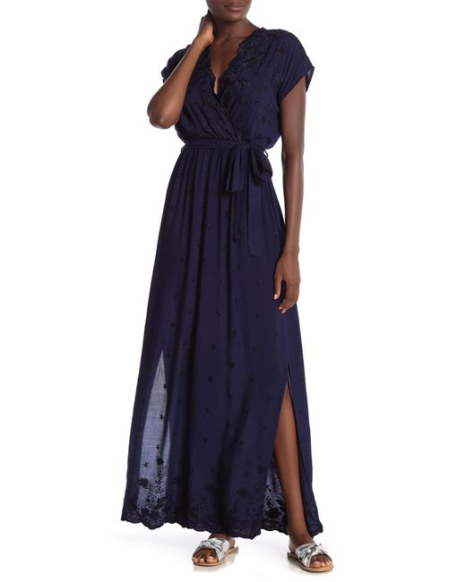 Angie - Blue Embroidered Maxi Dress - Lyst