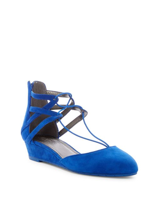 Kenneth Cole Reaction | Blue Why Not Wedge Lace Sandal | Lyst