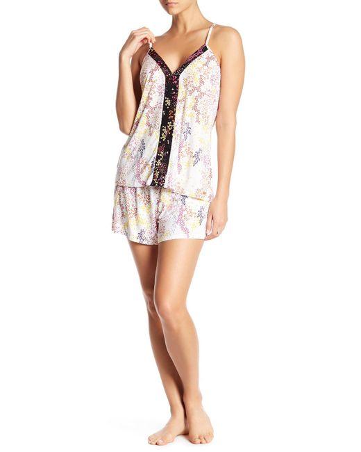 Tahari - White Strappy V-neck & Shorts Pajama 2-piece Set - Lyst