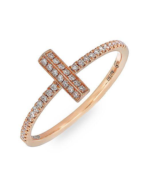 Bony Levy - Metallic 18k Rose Gold Diamond Small Bar Stack Ring - 0.15 Ctw - Lyst