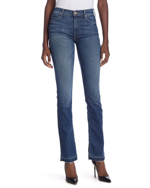 Mother - Blue The Rascal Slit Undone Hem Jeans - Lyst