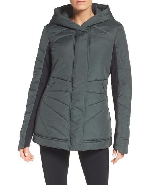 Zella - Gray Beyond Hooded Puffer Jacket - Lyst