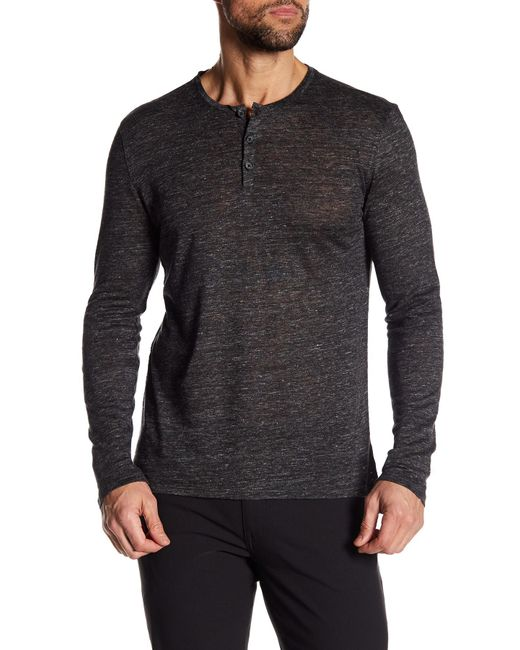Tocco Toscano - Gray Long Sleeve Linen Henley for Men - Lyst