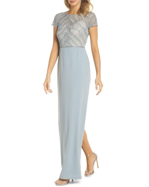 Adrianna Papell - Blue Beaded Illusion Bodice Gown - Lyst