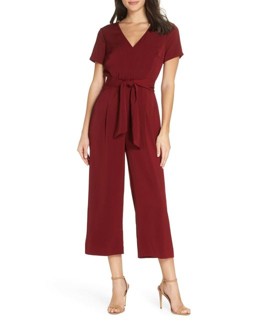 a6dcbeca3cf Lyst - Charles Henry Belted Crop Jumpsuit in Red - Save 67%