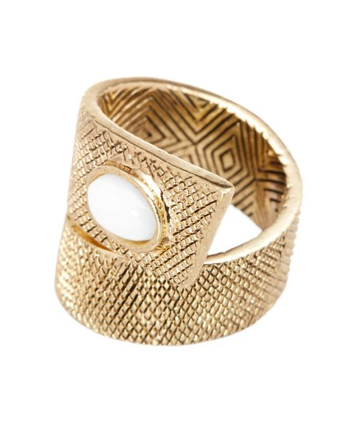 House of Harlow 1960 | White Tanta Crosshatch Stone Ring - Size 6 | Lyst