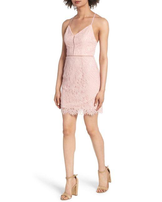 Soprano - Pink Lattice Lace Body-con Dress - Lyst