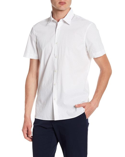 f0baf56d0dfa Perry Ellis - White Geometric Short Sleeve Slim Fit Shirt for Men - Lyst ...