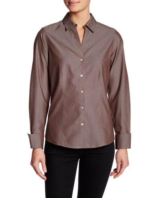 Foxcroft | Brown Lauren Fitted Shirt | Lyst