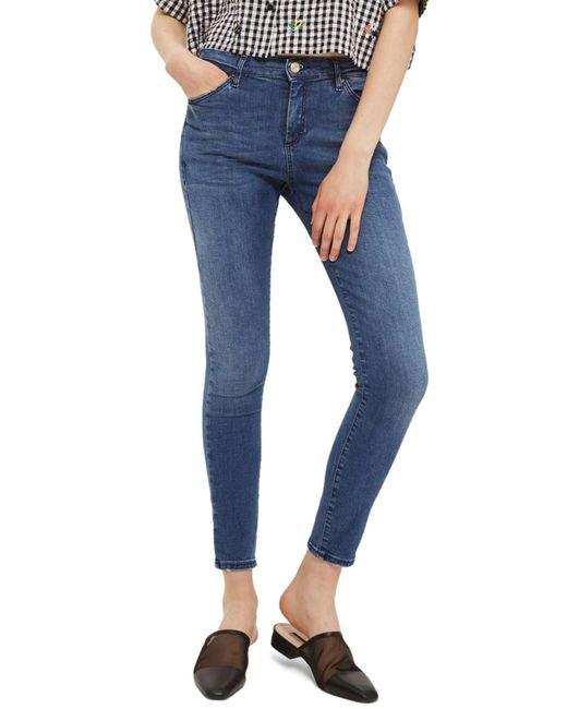 TOPSHOP - Blue Sidney Skinny Ankle Jeans - Lyst