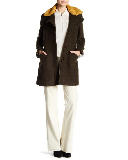 Laundry by Shelli Segal - Green Fit & Flare Faux Shearling Trimmed Wool Blend Coat - Lyst