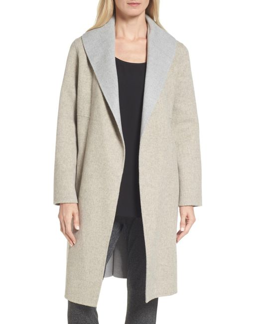 Eileen Fisher - Multicolor Double-face Wool Blend Coat - Lyst
