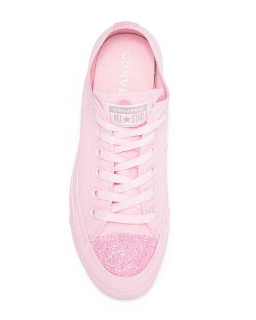 52a930f5bcf9 ... Converse - Pink Chuck Taylor All Star Ox Glitter Toe Sneaker (women) -  Lyst ...