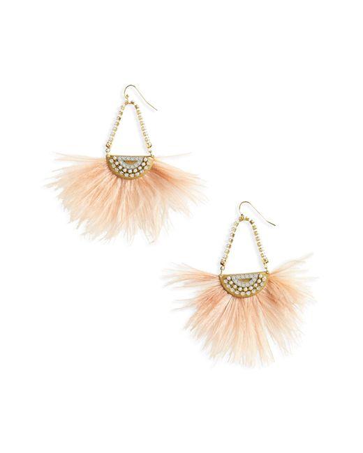 Sandy Hyun - Metallic Pearl Feather Earrings - Lyst