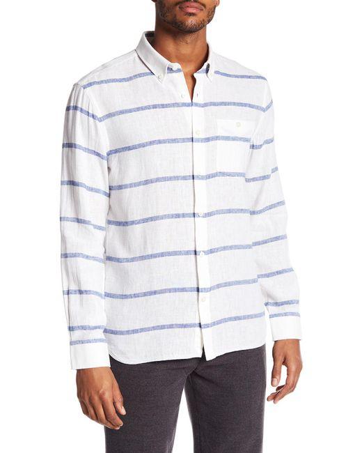 Jack Spade - White Striped Linen Blend Long Sleeve Shirt for Men - Lyst