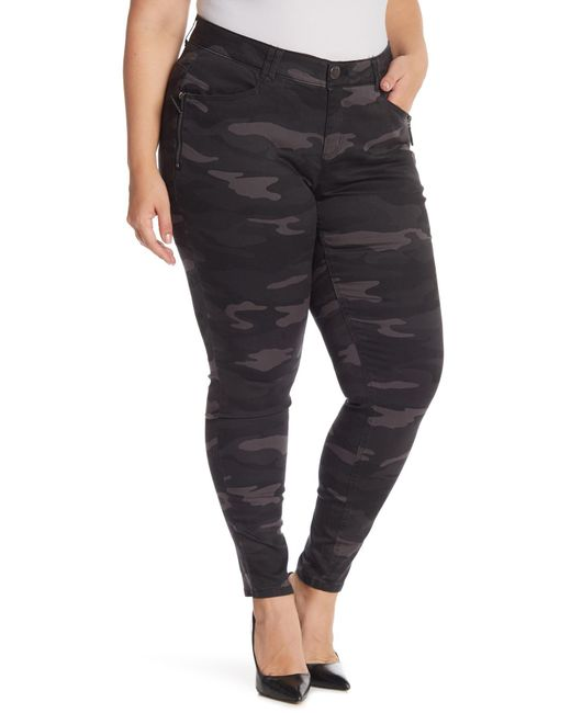 Democracy - Black Tummy Control Camo Print Pants (plus Size) - Lyst