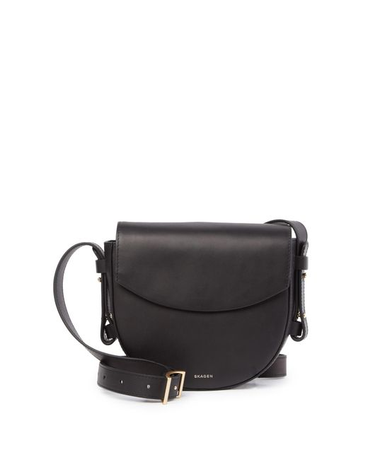 Skagen - Black Lobelle Leather Saddle Crossbody Bag - Lyst
