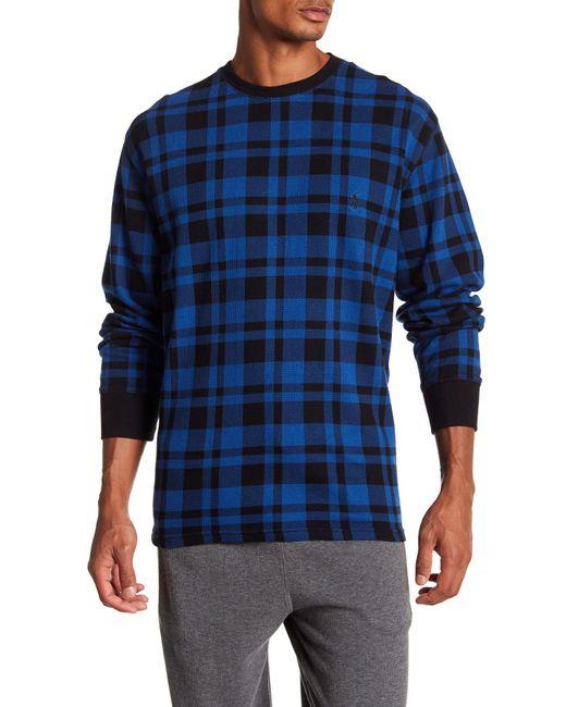 Polo Ralph Lauren - Blue Plaid Waffle Knit Long Sleeve Shirt for Men - Lyst