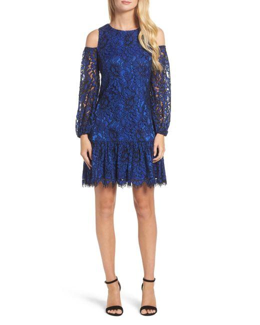 Eliza J - Blue Lace Cold Shoulder Dress - Lyst