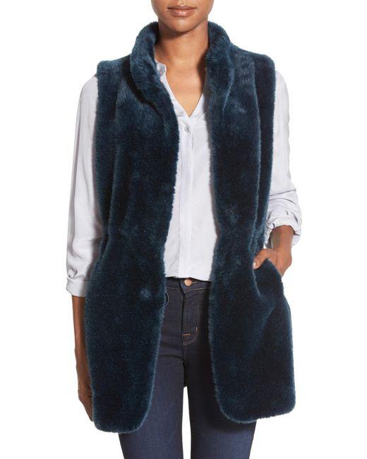 Vince Camuto | Blue Drawstring Waist Faux Fur Vest | Lyst