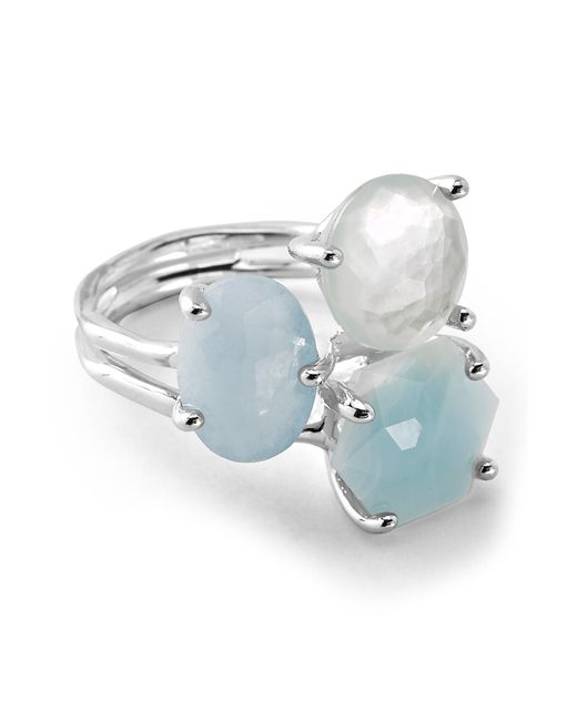 Ippolita - Metallic Rock Candy Sterling Silver Prong Set Aquamarine, Blue Topaz, Mother Of Pearl Cluster Ring - Size 7 - Lyst