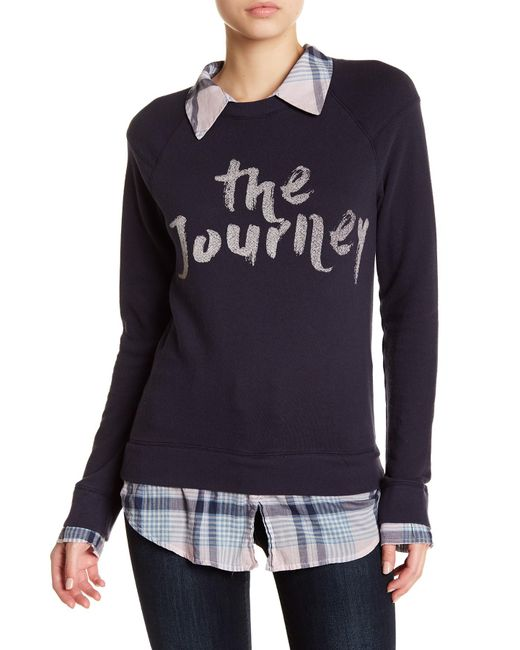 Soft Joie | Blue Long Sleeve Mixed Media Plaid Knit Pullover | Lyst
