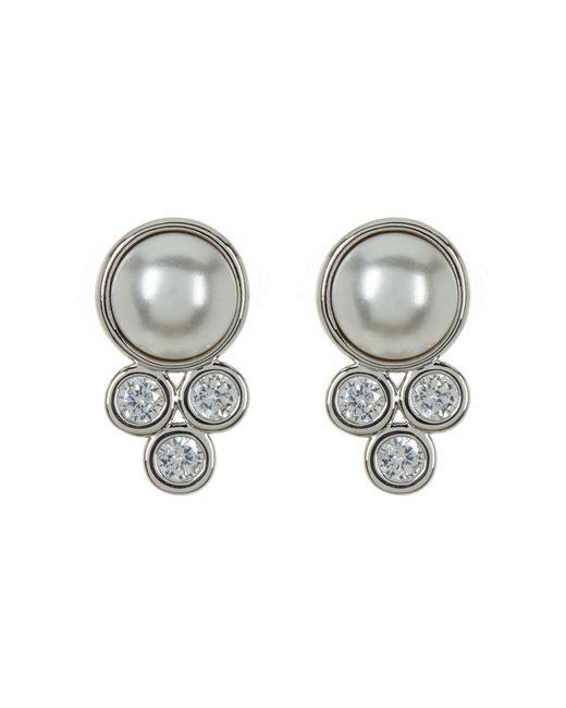 Nadri | Multicolor Bezel Imitation Mabe Pearl Stud Earrings | Lyst