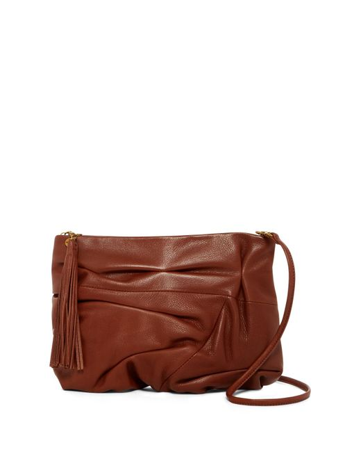Hobo | Brown Atlas Ruched Leather Crossbody Clutch | Lyst