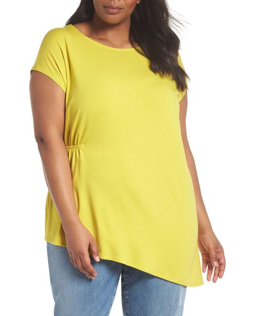 Eileen Fisher - Yellow Asymmetrical Jersey Top (plus Size) - Lyst