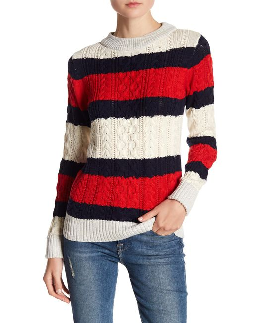 Vero Moda Knitting Yarns : Lyst vero moda striped knit jumper in red
