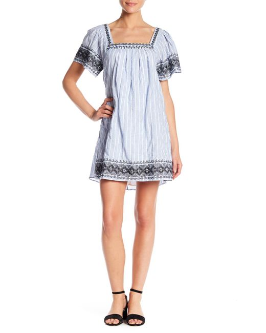 Lush - Blue Wide Sleeve Embroidered Shift Dress - Lyst