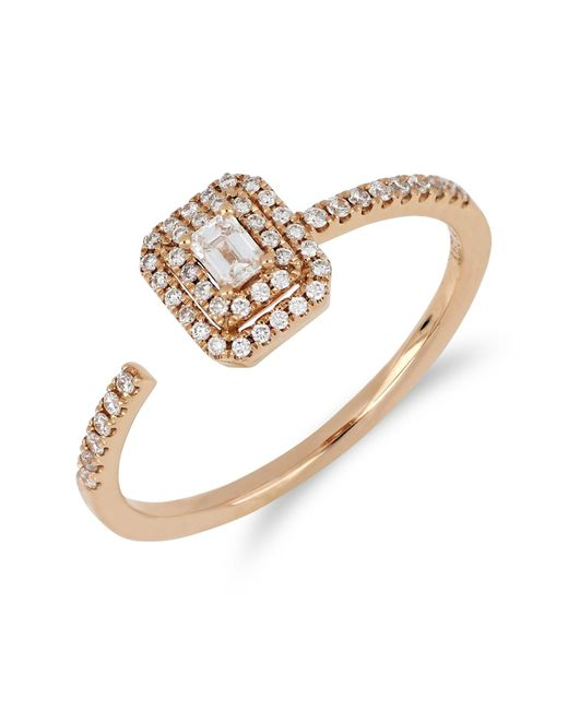 Bony Levy - Metallic 18k Rose Gold Faceted Baguette & Halo Set Diamond Detail Open Ring - 0.30 Ctw - Lyst