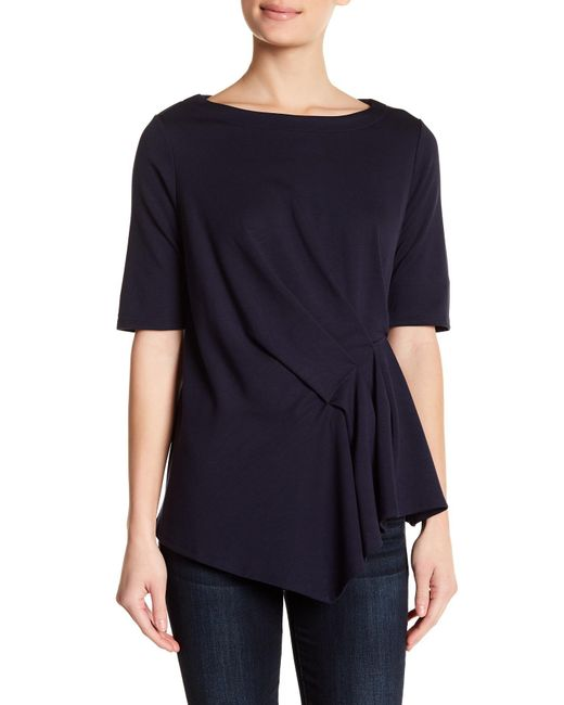 Gibson - Blue Pleat Detail Elbow Sleeve Top - Lyst