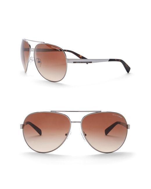 cd2278e39cf3 Armani Exchange - Multicolor 64mm Aviator Sunglasses for Men - Lyst ...