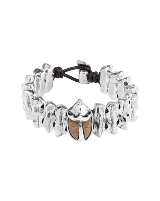 Uno De 50 - Brown Micron Silver Plated Metal Leather Bracelet - Lyst