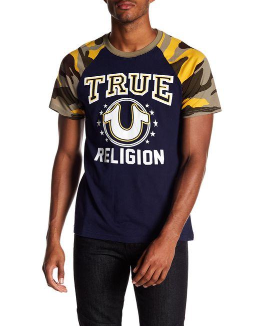 True Religion | Blue High School Raglan Sleeve Tee for Men | Lyst