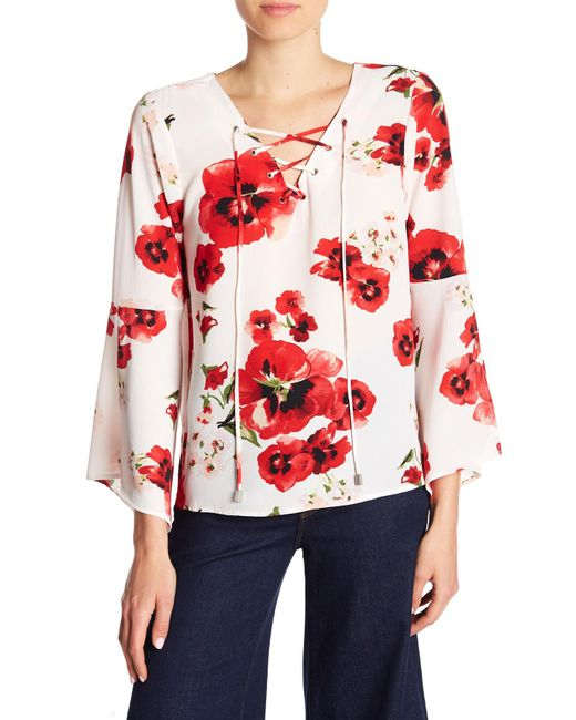 B Collection By Bobeau - Red Sybil Lace-up Blouse - Lyst