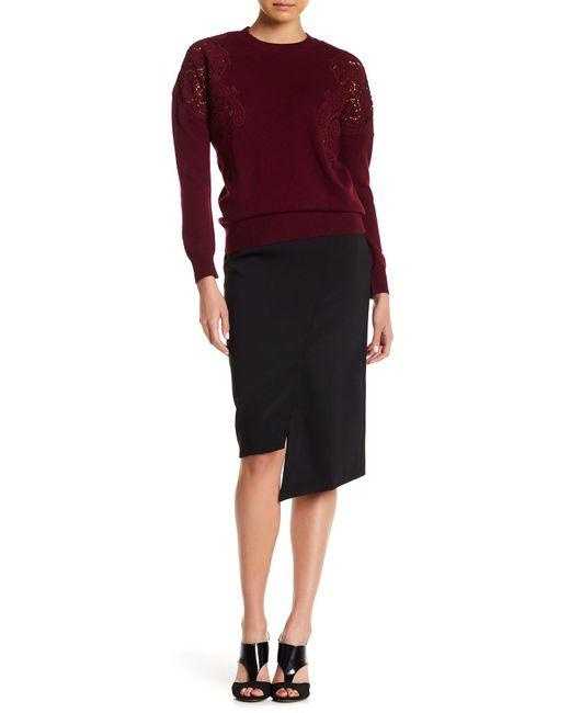 Ted Baker - Black Nimmo Tonal Topstitched Asymmetrical Skirt - Lyst
