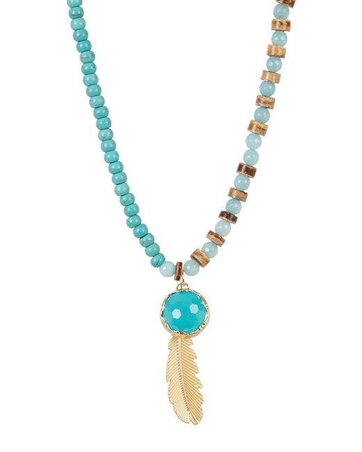 Cara | Blue Beaded Turquoise Leaf Pendant Necklace | Lyst